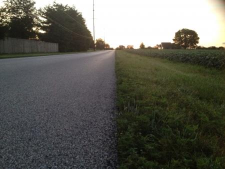 beside: Indiana sunrise beside a bean field