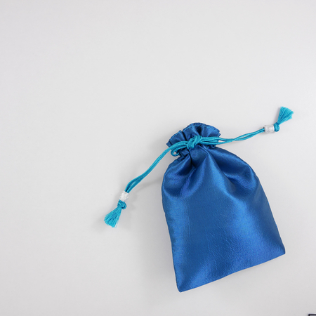 The blue silk mini gift pouch bag to hold jewelry. 2