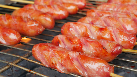 The delicious grilled Taiwanese sweet pork sausage.
