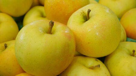 fresh apple: The group of fresh big yellow apples. Stock Photo