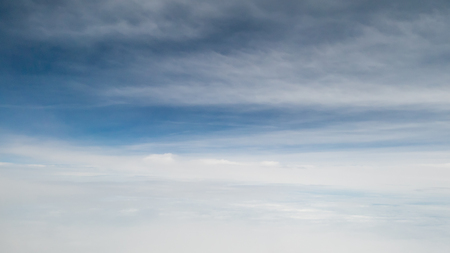 The beautiful cloudy and blue sky (view from airplane). Reklamní fotografie