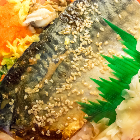 The close up of delicious grilled saba fish rice (Japanese food).