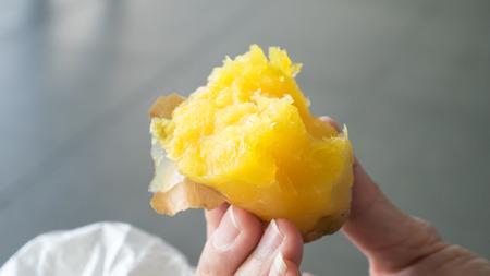 The close up of Japanese Roasted Sweet Potato.