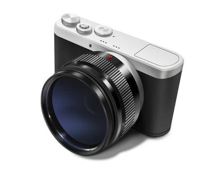 Die digitale Malerei der spiegellosen Digitalkamera isoliert auf weißem Hintergrund im Realismus-Kunst-Stil.