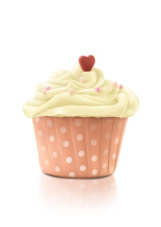 The Digital Painting of Lovely Pink Cupcake (Small Cake) with Heart symbol isolated on white background in Realism Art Style.