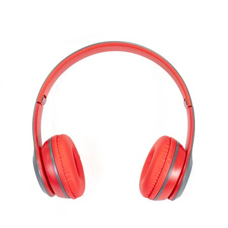 The close up of Modern red wireless headphone isolated on white background. Banco de Imagens