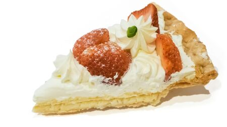 The close up of homemade strawberry pie pastry on white background. Reklamní fotografie