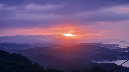 The landscape of beautiful colorful sunset view from Jiufen mountain in Taiwan.