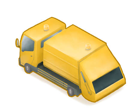Yellow garbage truck car, a digital painting of waste container dump-truck vehicle isometric cartoon icon raster illustration isolated on white background.