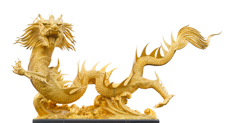 allegory painting: Isolated golden dragon sculpture