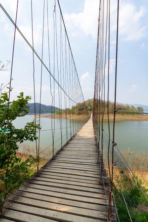 rope bridge: Rope bridge across the river to island