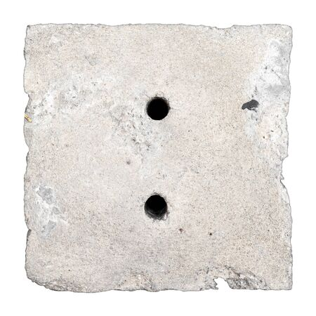 crack pipe: Square shaped concrete drain cap isolated, rough edge
