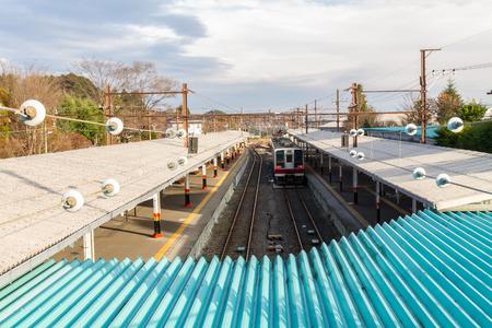 estacion de tren: Vista en perspectiva por encima de la estaci�n de tren Foto de archivo