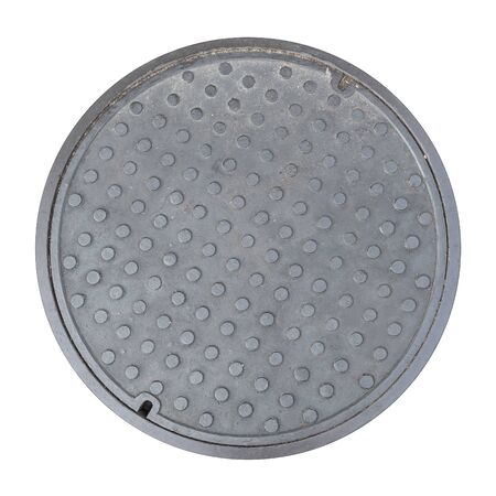 manhole cover: Rusty, grunge manhole cover, ROUND edge, rim isolated Stock Photo