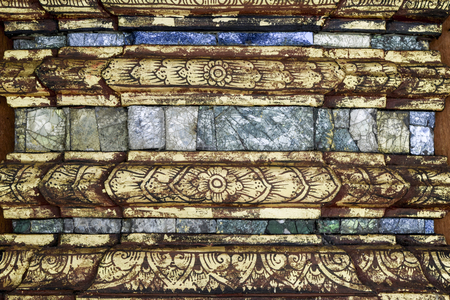 Thai Glass tile wall with  chest  lacquered and gilded gold, retro art of thai