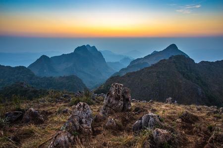 blue mountains tree frog: Sunset at Doi Luang Chiang Dao, Chiang Mai , Thailand Stock Photo