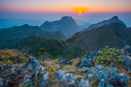 blue mountains tree frog: Sunset mountains Doi Luang Chiang Dao in Chiang Mai , Thailand