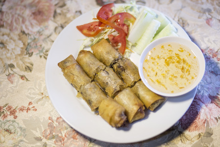 non vegetarian: Fried Spring Rolls Chinese food Stock Photo