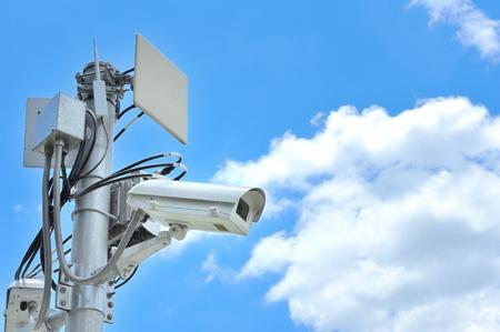 closed circuit: CCTV. Closed circuit camera with blue sky.