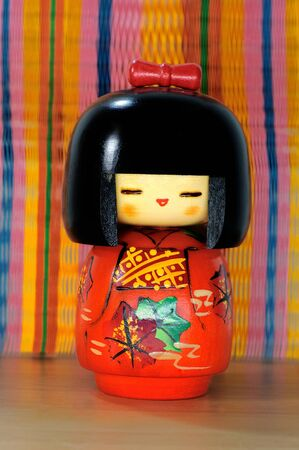 wooden doll: Wooden doll made in japan, touristic Souvenir