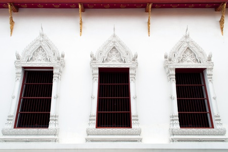 Art of Thai Window , ancient thailand temple photo
