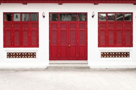red door and window of temple photo