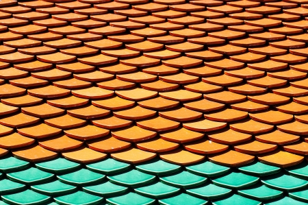 rooftiles: Architectural Detail of Roof Tiles of Wat Phra Kaew Stock Photo