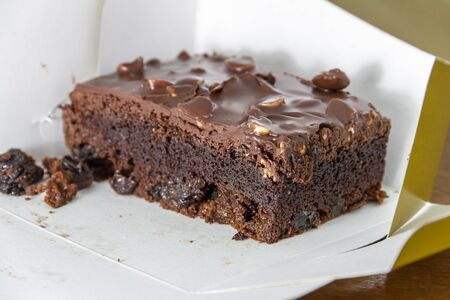 dollop: Close up toffee cake in the box Stock Photo