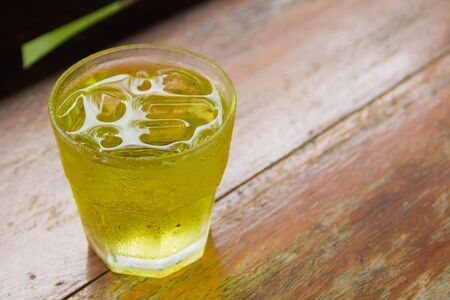 pandan: Pandan healthy drink on wood table