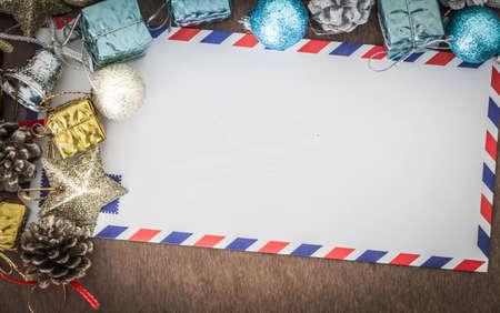 decorative accessories: Christmas concept, decorative accessories for Christmas with envelopes.