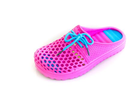 foot gear: Colorful of pink rubber sandals on a white background