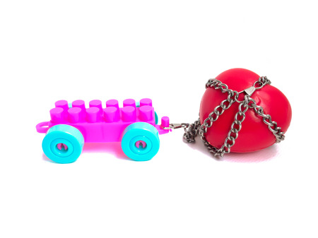 forbidden love: Red heart locked with chain. Love concept. Red heart locked on padlock. Love locked heart shape with chains on white