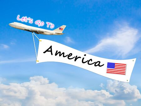 let go: Word Let go to  and America on Blue sky and cloud with airplane background