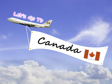 let go: Word Let go to  and Canada on Blue sky and cloud with airplane background
