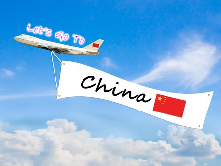 Word Let go to  and China on Blue sky and cloud with airplane background