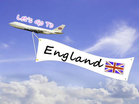let go: Word Let go to  and England on Blue sky and cloud with airplane background