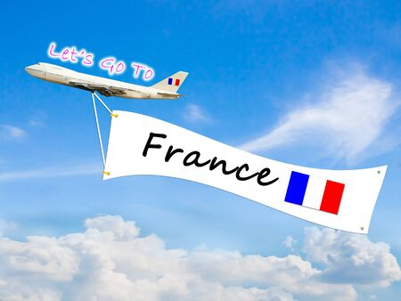let go: Word Let go to  and France on Blue sky and cloud with airplane background