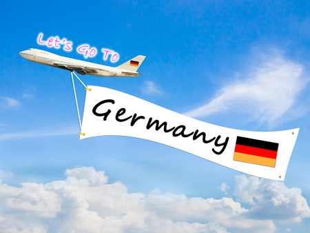 let go: Word Let go to  and Germany on Blue sky and cloud with airplane background