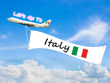 let go: Word Let go to  and Italy on Blue sky and cloud with airplane background Stock Photo