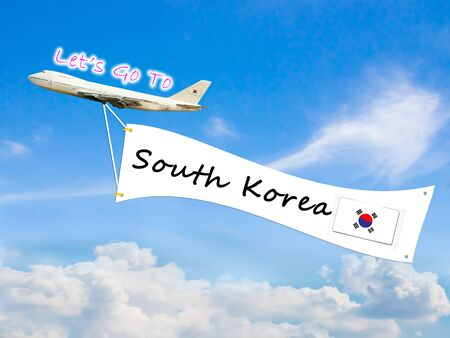 let go: Word Let go to  and South Korea on Blue sky and cloud with airplane background