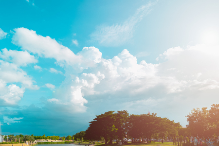 Beautiful of blue sky and cloud with city park for texture background. Concept idea background. Stock Photo