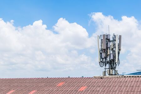 Antenna of GSM Transmitter on the roof of building.