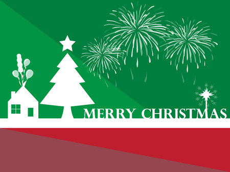 Christmas background with home and christmas trees. Vector illustrator design Illusztráció