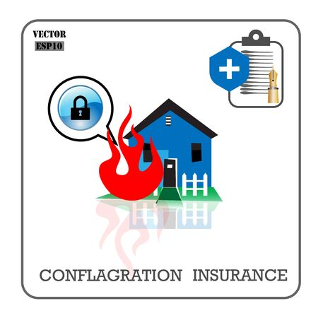 conflagration: Conflagration insurance. Vector insurance icons.