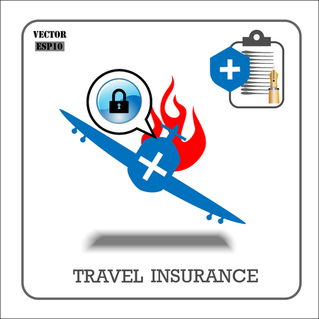 case: Travel insurance. Vector insurance icons. Illustration