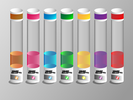 toxic substance: Colorful liquid in a glass tubes with 25 percent.