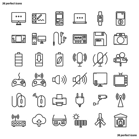 Device and Technology Outline Icons perfect pixel. Use for website, template,package, platform. Concept business object design.