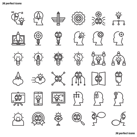 Creative and Design Outline Icons perfect pixel. Use for website, template,package, platform. Concept business object design.