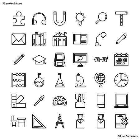 Education and learning Outline Icons perfect pixel. Use for website, template,package, platform. Concept business object design.
