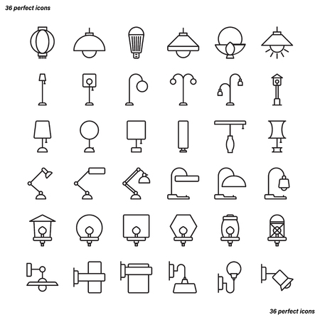 Lamp Outline Icons perfect pixel. Use for website, template,package, platform. Concept business object design.
